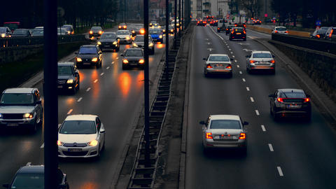 Evening traffic in the city of Warsaw. Cars are slow going GIF