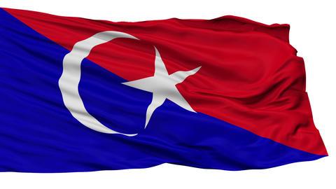 Isolated Johor Bahru Johor city flag, Malaysia Animation