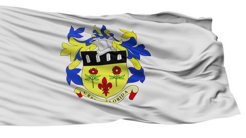 Isolated Quatre Bornes city flag, Mauritius Animation