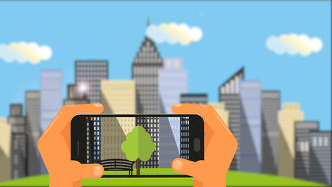Hands take pictures of cityscape on the smartphone Animación