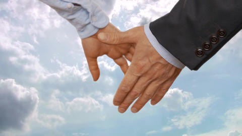 Businesspeople holding hands. Business couple with blue cloudy sky on background Footage