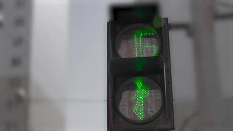Traffic light with green and red, walk and stop signs. Safety on crossroad Footage