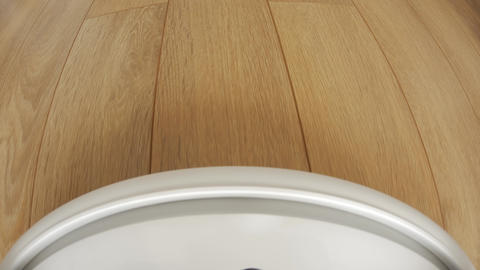 Robot vacuum cleaner on floor, Smart robotic automate wireless cleaning GIF