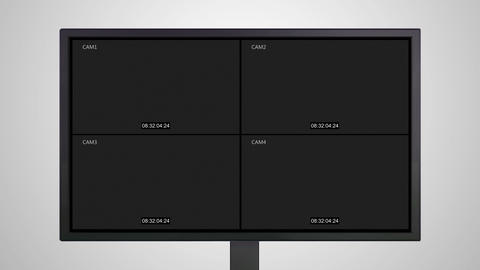 Desktop Monitor display of Closed circuit television cctv Animation