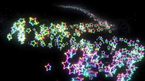 Many rainbow colored stars, CG Animation CG動画