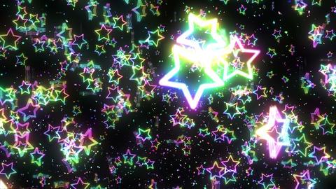 Many rainbow colored stars, CG Animation, Loop CG動画