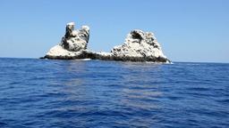 Birds on rock in middle of ocean in Pacific ocean Footage