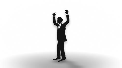 Male silhouette happiness, Businessman, Loop Animación