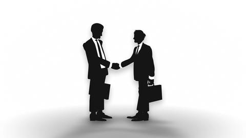 Male silhouette shaking hands, Businessman, Loop Animation