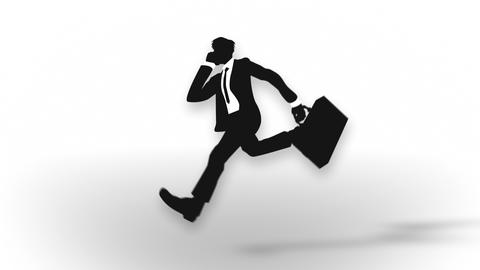 Male silhouette running, Businessman, Loop Animation