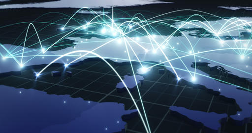 Global Network Connections through Europe from London (NO Text) Animation