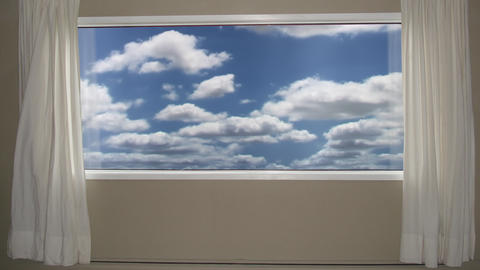 Beautiful blue cloudy sky view outside the window. Background Plate, Chroma Key Live Action