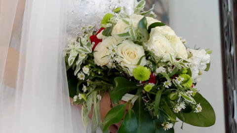 wide shot of bride & bridemaid wedding dress Footage