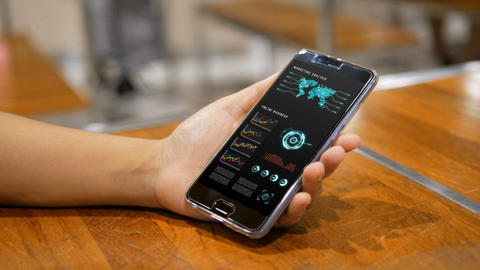 4K Hands of woman using using smartphone with HUD head up display user interface for mobile GIF