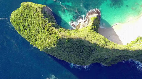 Flight over the Rocks of the Tropical Shore. Aerial View Footage