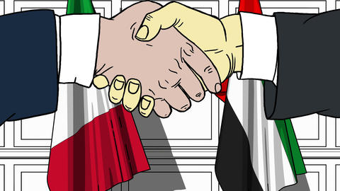 Businessmen or politicians shake hands against flags of Italy and UAE. Official Footage