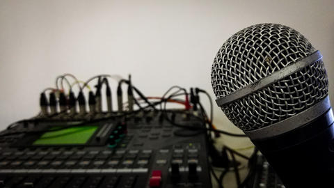 Microphone Head And Sound Mixer Record Panel Close up Fotografía