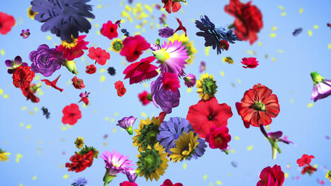 Colorful big flowers background in 4K Animation