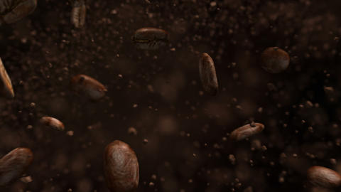 Exploding roasted coffee beans in 4K Acción en vivo