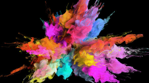 Color Burst - colorful smoke explosion fluid particles alpha matte CG動画素材