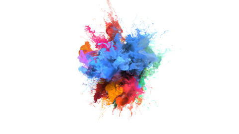 Color Burst - colorful blue orange smoke explosion fluid particles alpha matte Animación
