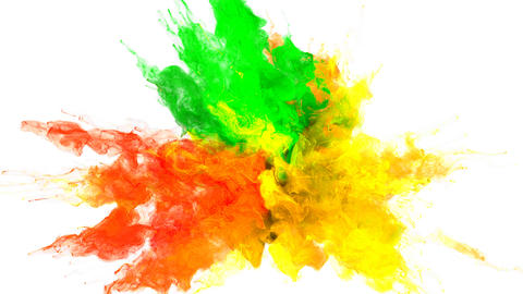 Color Burst - colorful green yellow smoke explosion fluid particles alpha matte Animation