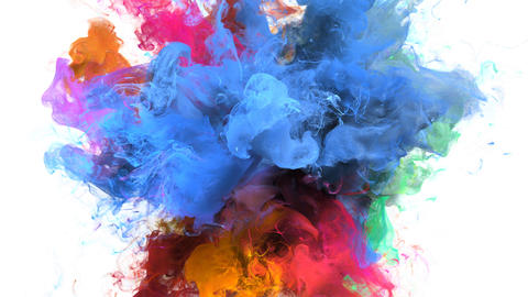Color Burst - colorful blue pink smoke explosion fluid particles alpha matte Animation