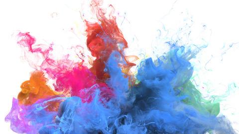 Color Burst - colorful blue orange smoke explosion fluid particles alpha matte 애니메이션