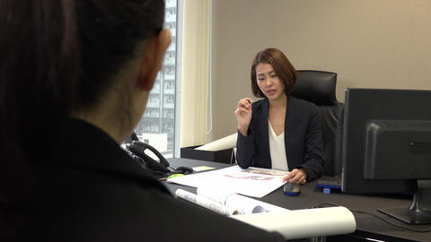 Assistant Meeting Female Boss In Office And Doing Job Interview Live Action