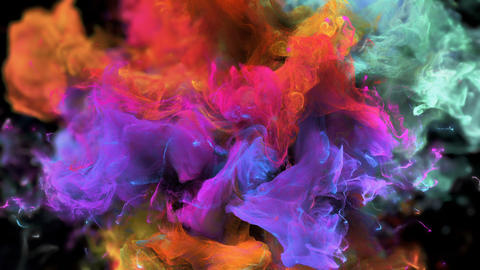 Color Burst colorful orange magenta smoke explosion fluid particles alpha matte Animation