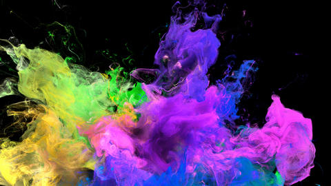 Color Burst - colorful pink yellow smoke explosion fluid particles alpha matte Animation