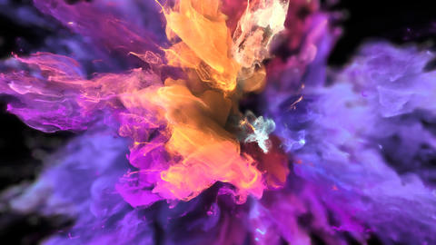 Color Burst - colorful purple yellow smoke explosion fluid particles alpha matte Animation