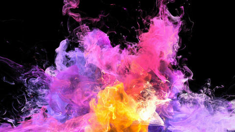 Color Burst - colorful purple yellow smoke explosion fluid particles alpha matte Animation