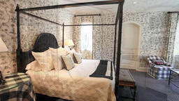 View of elegant bedroom in a stylish Footage