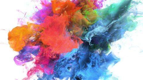 Color Burst - colorful blue magenta smoke explosion fluid particles alpha matte Animation