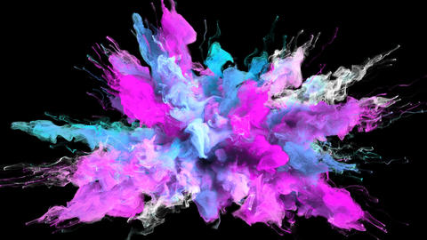 Color Burst - colorful magenta cyan smoke explosion fluid particles alpha matte Animation