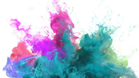 Color Burst - colorful cyan magenta smoke explosion fluid particles alpha matte Animation