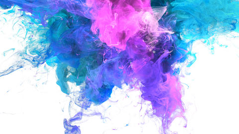 Color Burst - colorful blue pink smoke explosion fluid particles alpha matte Animation