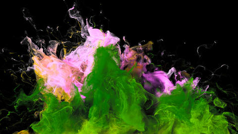 Color Burst - colorful pink green smoke explosion fluid particles alpha matte Animation