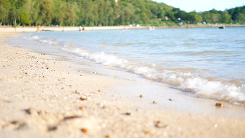 Sand beach with sea wave select focus shallow depth of field with summer atmosphere Live Action