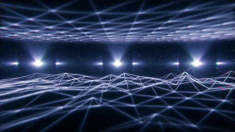 3D White Wireframe Landscape in Cyberspace VJ Loop Background Animation