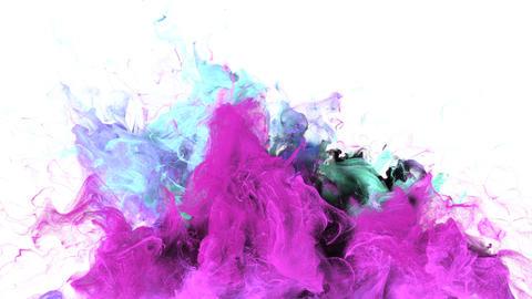 Color Burst - colorful magenta cyan smoke explosion fluid particles alpha matte Animation
