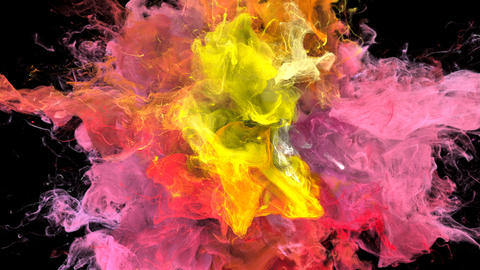 Color Burst - colorful yellow pink smoke explosion fluid particles alpha matte Animation
