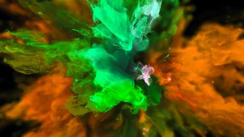 Color Burst - colorful orange green smoke explosion fluid particles alpha matte Animation