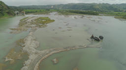 Cleaning and deepening by a dredger on the river. Philippines, Luzon Footage