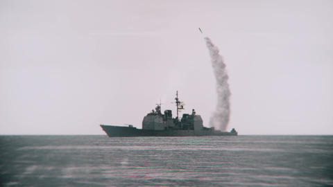 Missile launched from a navy vessel Footage