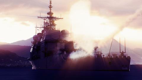 Battleship firing off a long range missile Footage