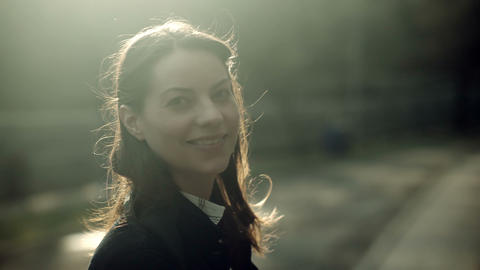Filmic portrait of a smiling woman Footage