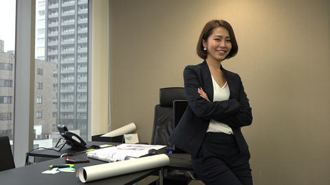 Confident Happy Asian Business Woman Manager Smiling In Office Footage