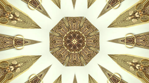 Gold Kaleidoscope pattern made from Jewelry footage 4k Footage